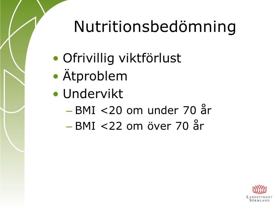 Nutritionsbedömning Ofrivillig viktförlust Ätproblem Undervikt – BMI <20 om under 70 år – BMI <22 om över 70 år