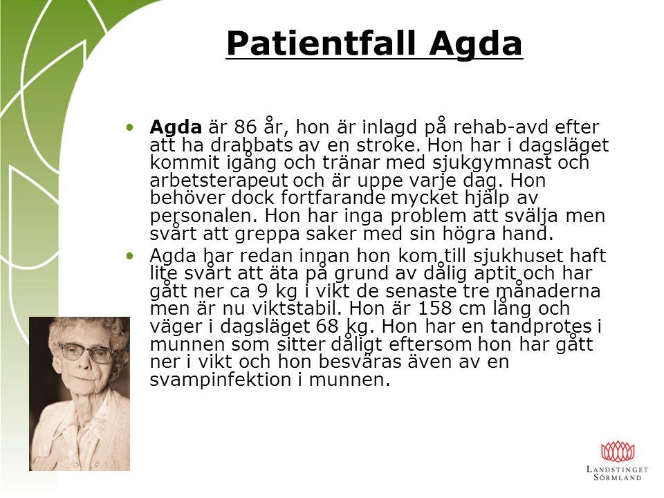 Patientfall Agda Agda är 86 år, hon är inlagd på rehab-avd efter att ha drabbats av en stroke. Hon har i dagsläget kommit igång och tränar med sjukgym