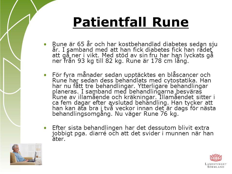 Patientfall Rune Rune är 65 år och har kostbehandlad diabetes sedan sju år. I samband med att han fick diabetes fick han rådet att gå ner i vikt. Med