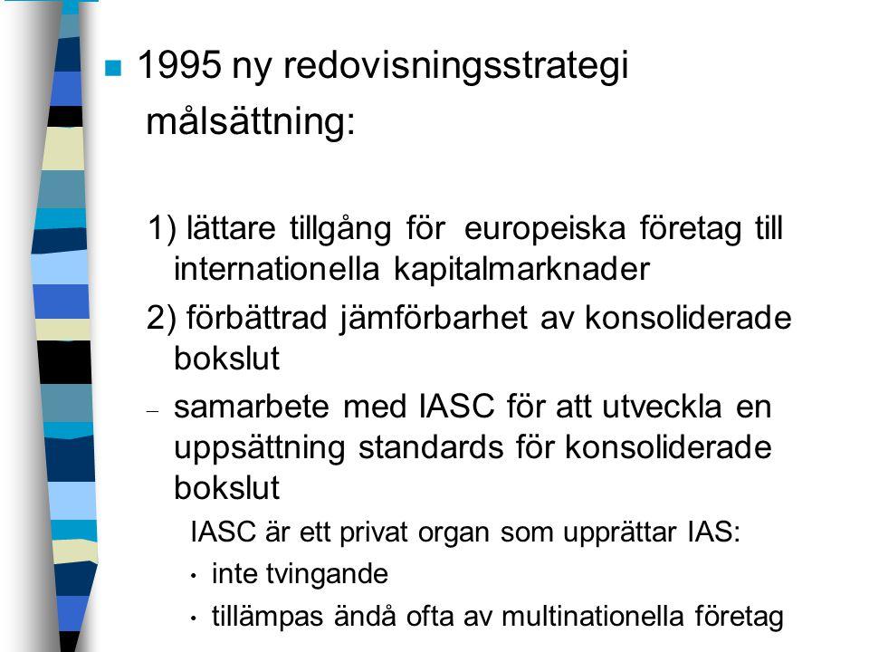n 1995 ny redovisningsstrategi målsättning: 1) lättare tillgång för europeiska företag till internationella kapitalmarknader 2) förbättrad jämförbarhe