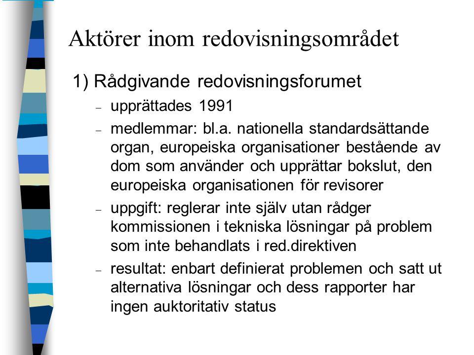 Aktörer inom redovisningsområdet 1) Rådgivande redovisningsforumet – upprättades 1991 – medlemmar: bl.a. nationella standardsättande organ, europeiska