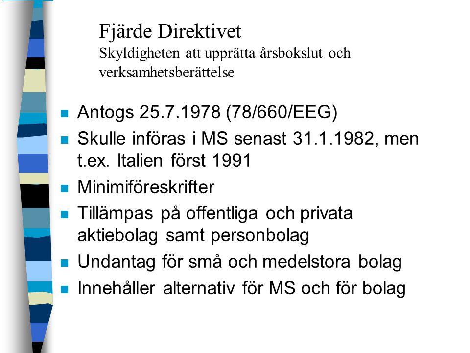 Fjärde Direktivet Skyldigheten att upprätta årsbokslut och verksamhetsberättelse n Antogs 25.7.1978 (78/660/EEG) n Skulle införas i MS senast 31.1.198
