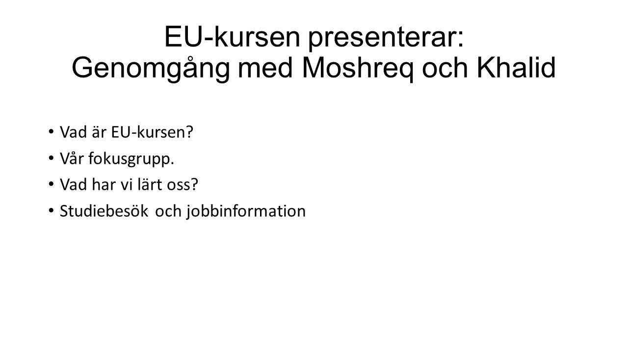 EU-kursen presenterar: Genomgång med Moshreq och Khalid Vad är EU-kursen.