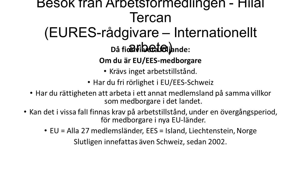 Besök från Arbetsförmedlingen - Hilal Tercan (EURES-rådgivare – Internationellt arbete) Då fick vi veta följande: Om du är EU/EES-medborgare Krävs inget arbetstillstånd.