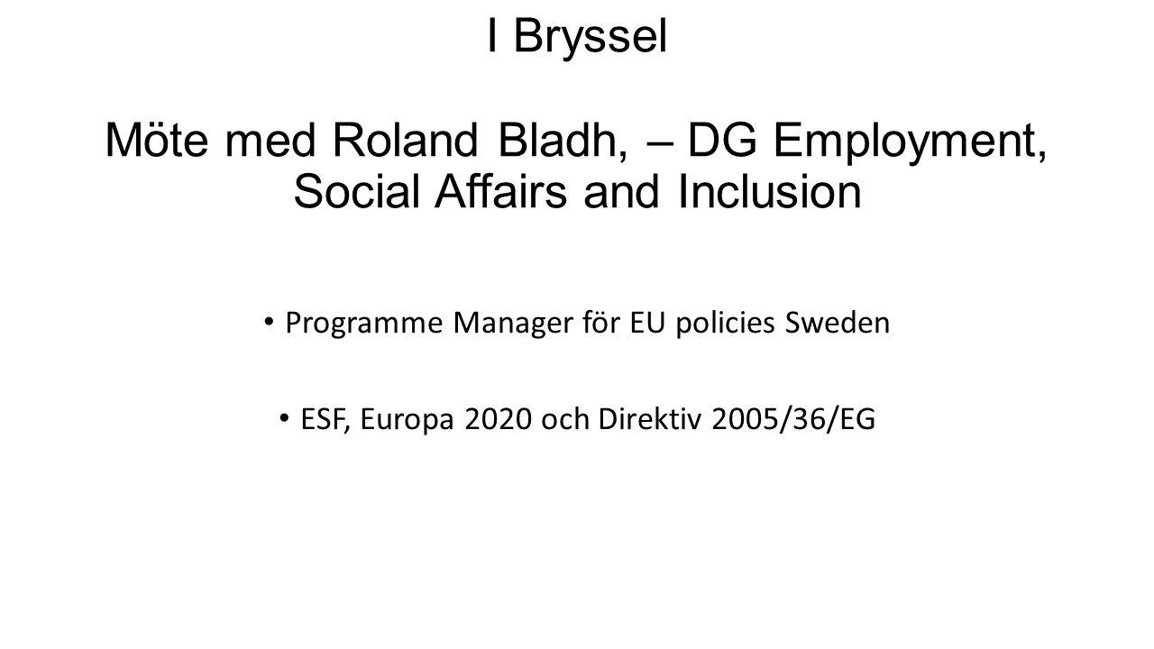 I Bryssel Möte med Roland Bladh, – DG Employment, Social Affairs and Inclusion Programme Manager för EU policies Sweden ESF, Europa 2020 och Direktiv 2005/36/EG