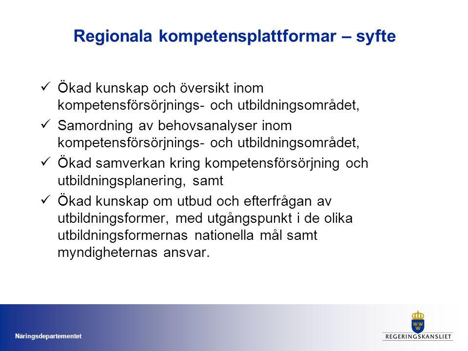 Näringsdepartementet Regionala kompetensplattformar - uppdrag Uppdrag enligt villkorsbeslut och regleringsbrev för 2010 till ansvariga för regionalt tillväxtarbete Etablera plattformar för samverkan på kort och lång sikt Etablerade samverkansplattformar inom kompetensförsörjningsområdet ska nyttjas Framtagande av kunskapsunderlag och behovsanalyser som förhåller sig till funktionella analysregioner Ett startskott för fortsatt arbete, delrapport 30 april 2010