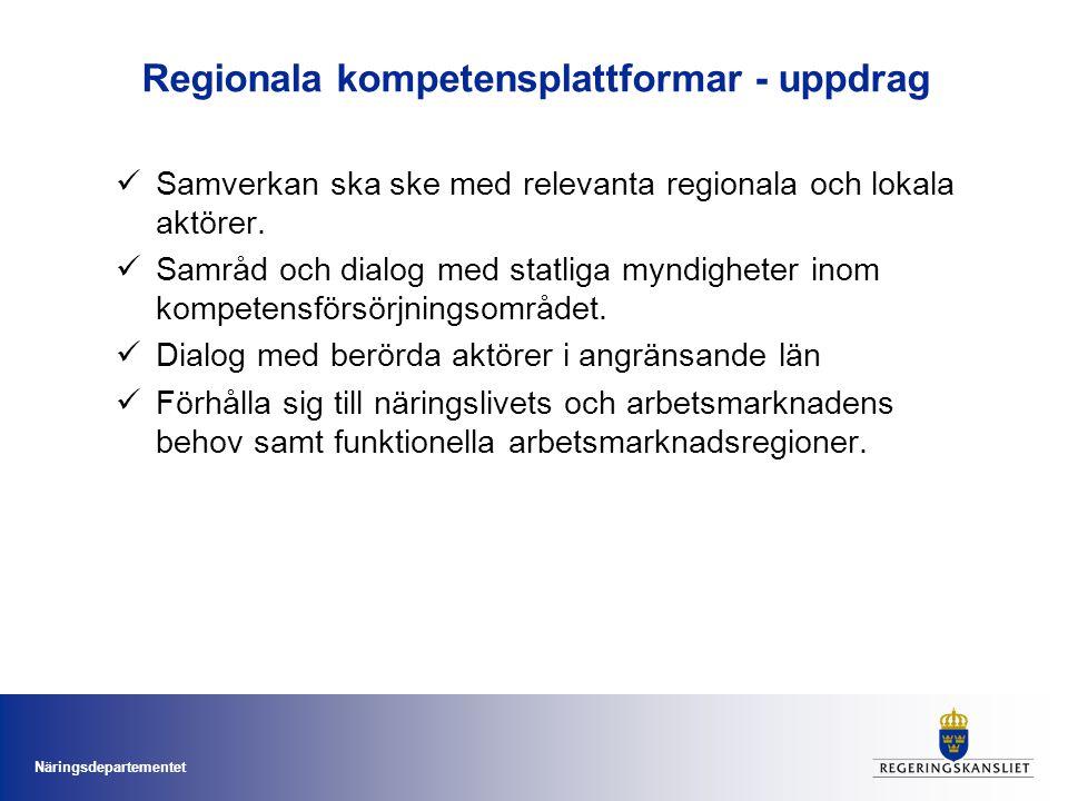 Näringsdepartementet Regionala kompetensplattformar - uppdrag Samverkan ska ske med relevanta regionala och lokala aktörer. Samråd och dialog med stat