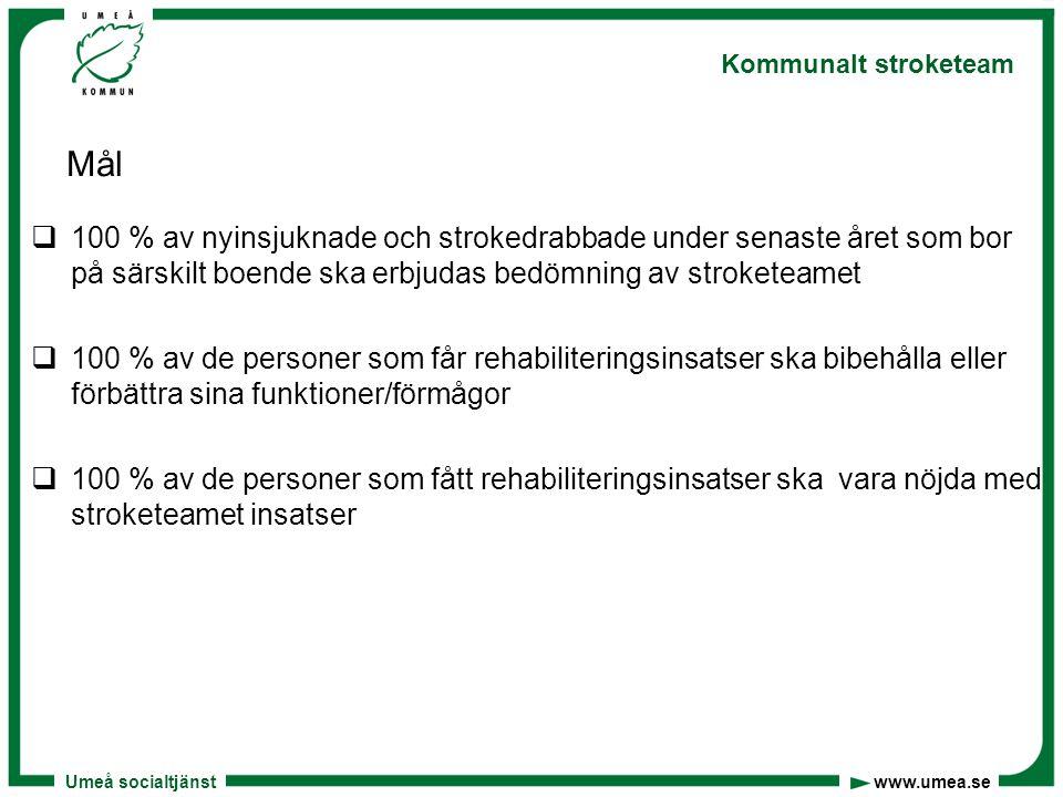 Umeå socialtjänst www.umea.se Kommunalt stroketeam Mål  100 % av nyinsjuknade och strokedrabbade under senaste året som bor på särskilt boende ska er