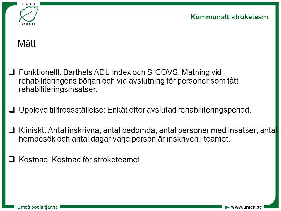 Umeå socialtjänst www.umea.se Kommunalt stroketeam Aktiviteter och tester  Skriftlig och muntlig information till enhetschefer, biståndsbedömare, sjuksköterskor, sjukgymnaster och arbetsterapeuter om stroketeamet och hur de strokedrabbade ska komma till vår kännedom  Utarbetat rutiner för stroketeamets arbete