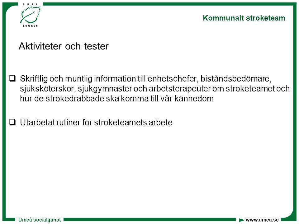 Umeå socialtjänst www.umea.se Kommunalt stroketeam Aktiviteter och tester  Skriftlig och muntlig information till enhetschefer, biståndsbedömare, sju