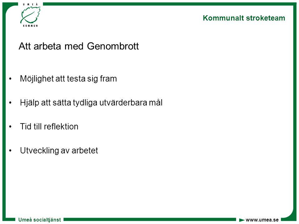 Umeå socialtjänst www.umea.se Kommunalt stroketeam Att arbeta med Genombrott Möjlighet att testa sig fram Hjälp att sätta tydliga utvärderbara mål Tid