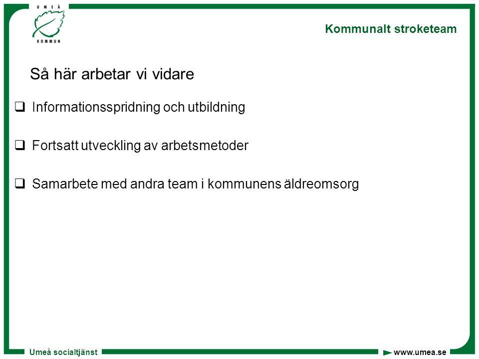 Umeå socialtjänst www.umea.se Kommunalt stroketeam Så här arbetar vi vidare  Informationsspridning och utbildning  Fortsatt utveckling av arbetsmeto