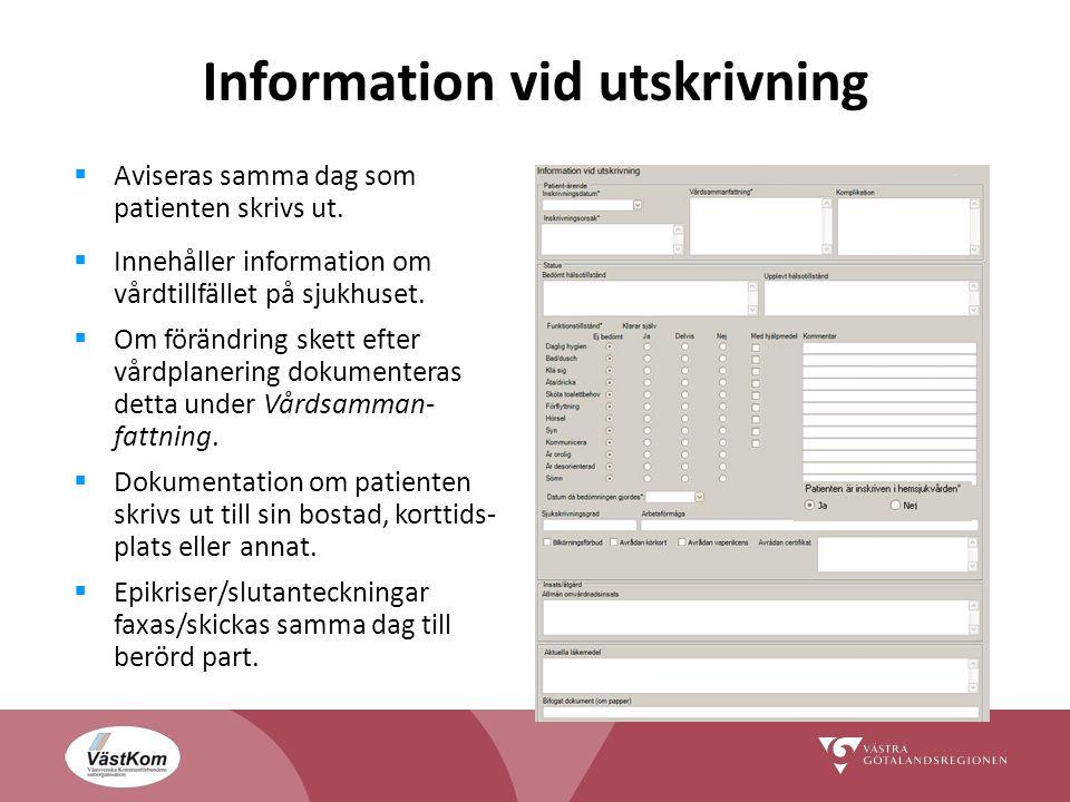 Information vid utskrivning  Aviseras samma dag som patienten skrivs ut.