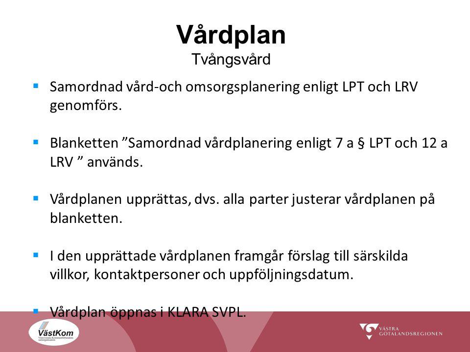 Vårdplan Tvångsvård  Samordnad vård-och omsorgsplanering enligt LPT och LRV genomförs.
