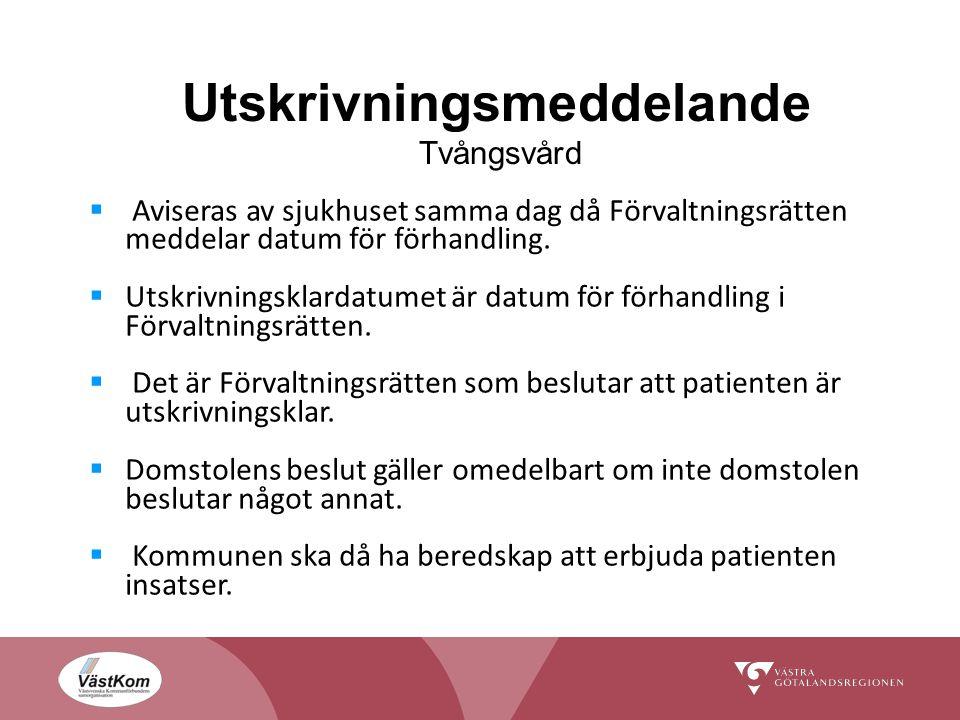 Utskrivningsmeddelande Tvångsvård  Aviseras av sjukhuset samma dag då Förvaltningsrätten meddelar datum för förhandling.