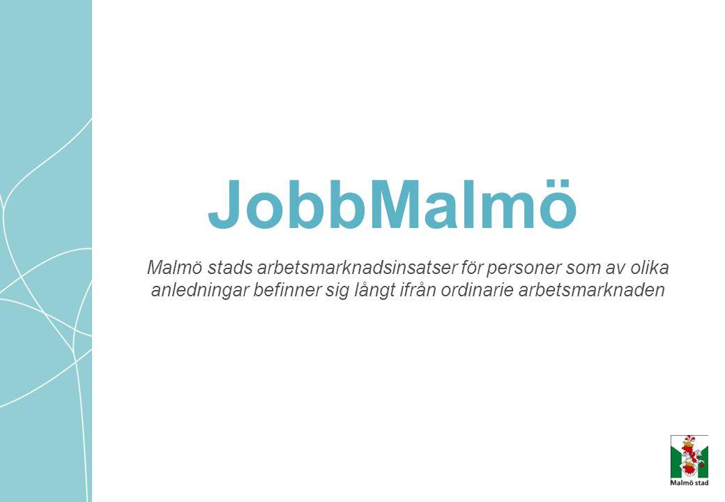 JobbMalmö Malmö stads arbetsmarknadsinsatser för personer som av olika anledningar befinner sig långt ifrån ordinarie arbetsmarknaden