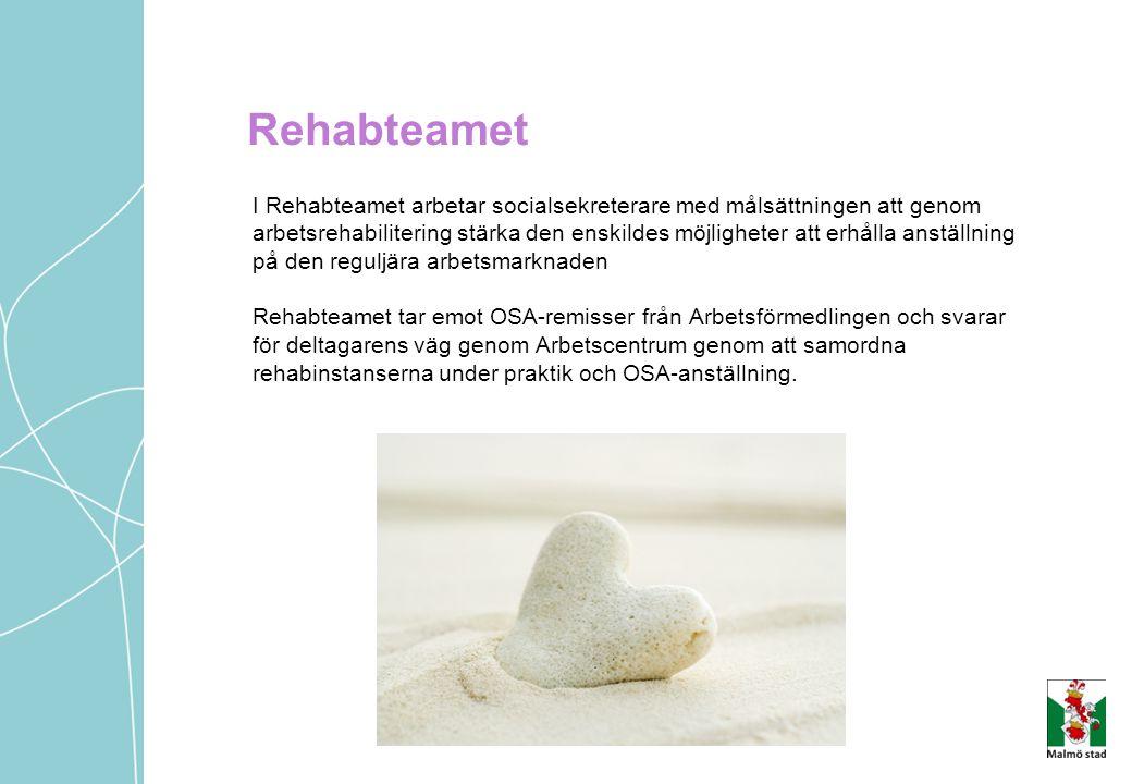 Rehabteamet I Rehabteamet arbetar socialsekreterare med målsättningen att genom arbetsrehabilitering stärka den enskildes möjligheter att erhålla anst