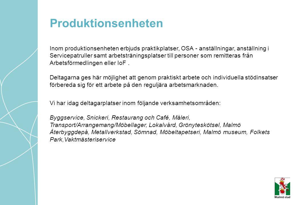 Produktionsenheten Inom produktionsenheten erbjuds praktikplatser, OSA - anställningar, anställning i Servicepatruller samt arbetsträningsplatser till