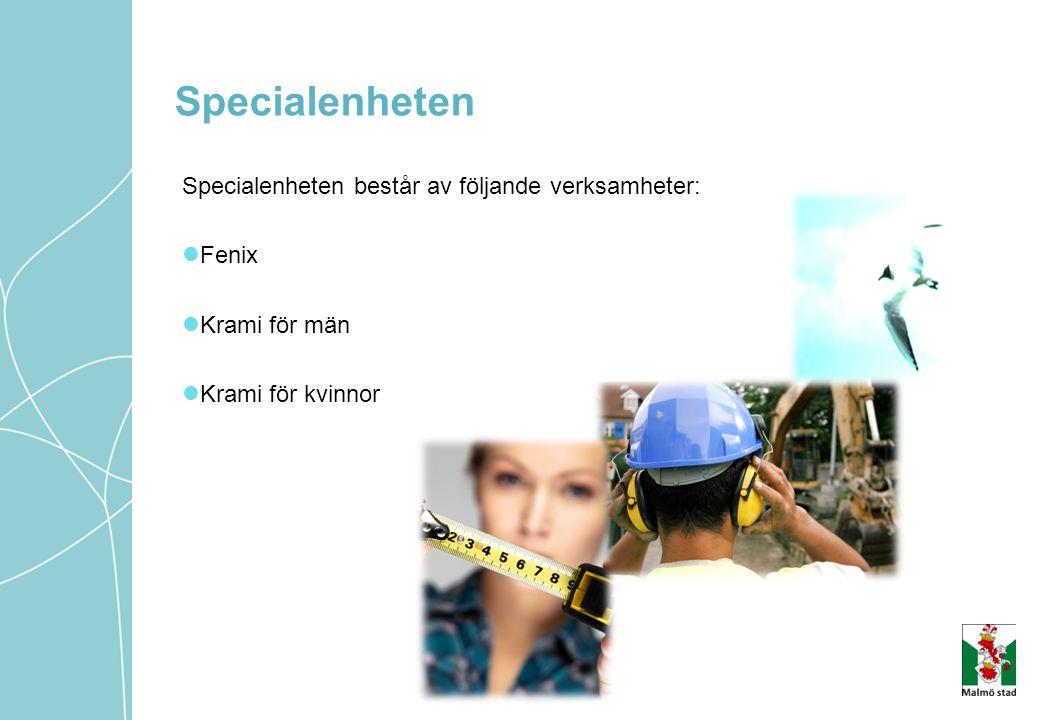 Specialenheten Specialenheten består av följande verksamheter: Fenix Krami för män Krami för kvinnor