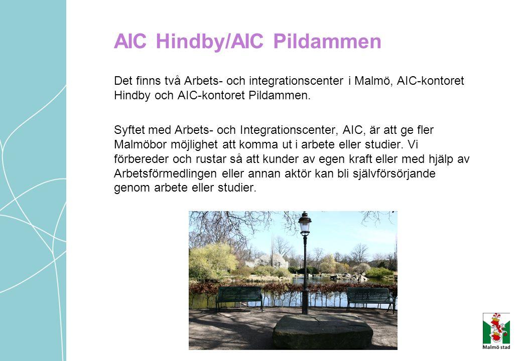 Det finns två Arbets- och integrationscenter i Malmö, AIC-kontoret Hindby och AIC-kontoret Pildammen. Syftet med Arbets- och Integrationscenter, AIC,