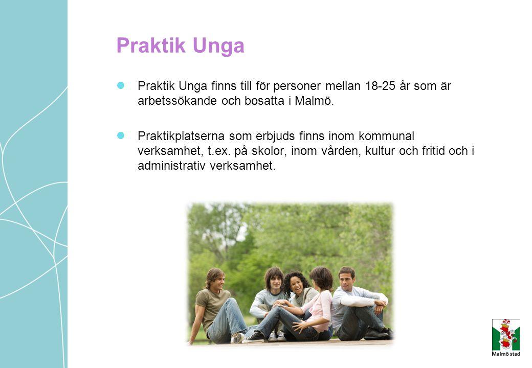 Praktik Unga Praktik Unga finns till för personer mellan 18-25 år som är arbetssökande och bosatta i Malmö. Praktikplatserna som erbjuds finns inom ko