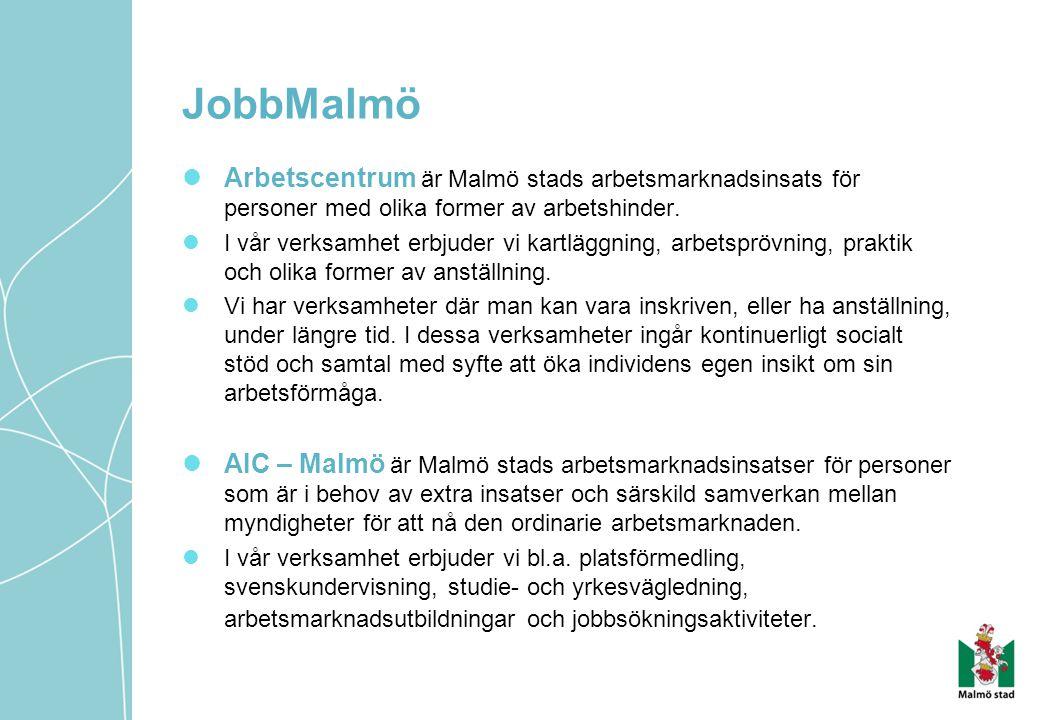 Arbetscentrum är Malmö stads arbetsmarknadsinsats för personer med olika former av arbetshinder. I vår verksamhet erbjuder vi kartläggning, arbetspröv