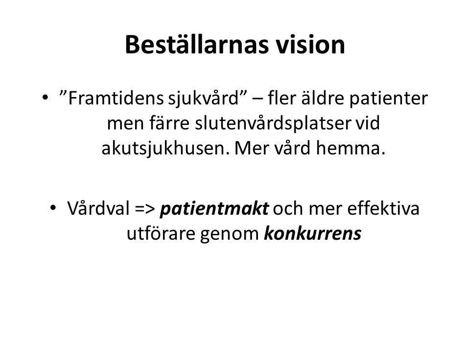 """Beställarnas vision """"Framtidens sjukvård"""" – fler äldre patienter men färre slutenvårdsplatser vid akutsjukhusen. Mer vård hemma. Vårdval => patientmak"""