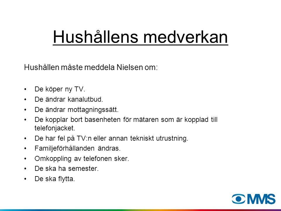 Hushållens medverkan Hushållen måste meddela Nielsen om: De köper ny TV. De ändrar kanalutbud. De ändrar mottagningssätt. De kopplar bort basenheten f