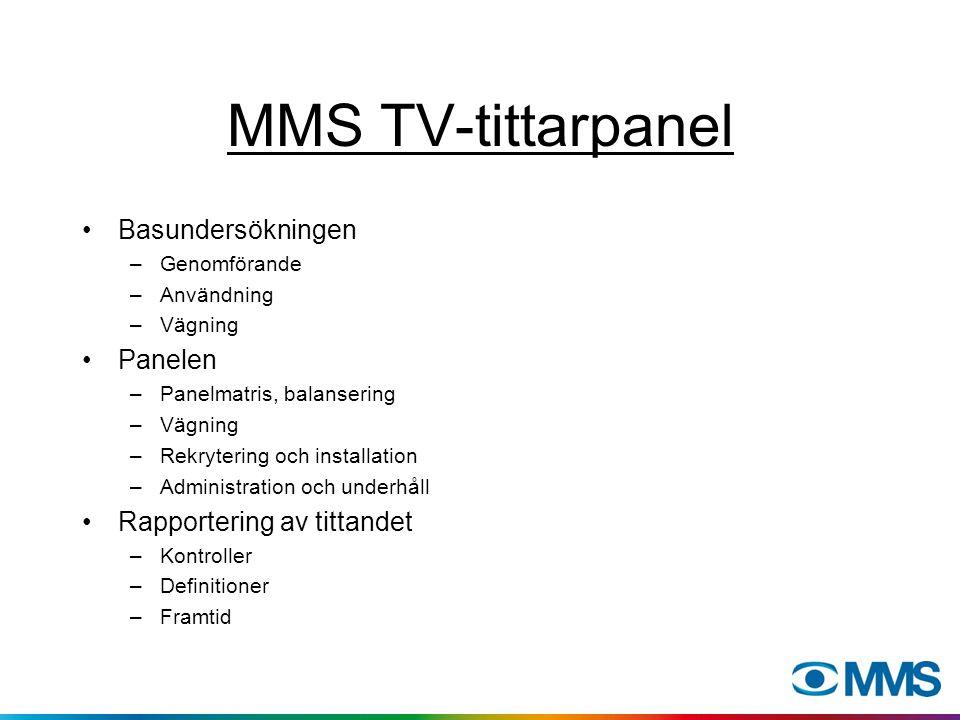 MMS TV-tittarpanel Basundersökningen –Genomförande –Användning –Vägning Panelen –Panelmatris, balansering –Vägning –Rekrytering och installation –Admi