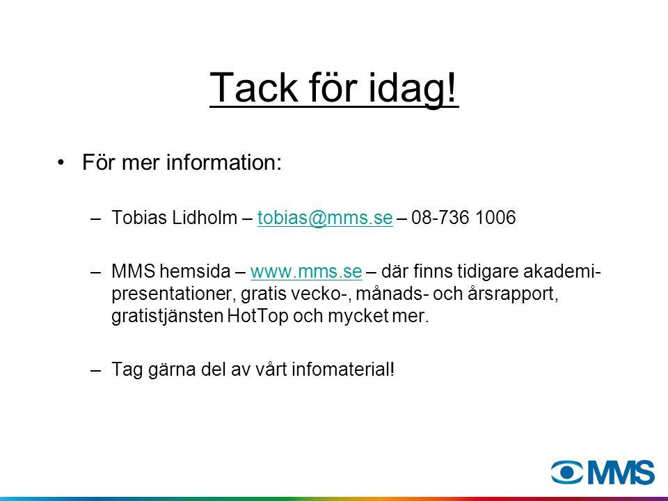 Tack för idag! För mer information: –Tobias Lidholm – tobias@mms.se – 08-736 1006tobias@mms.se –MMS hemsida – www.mms.se – där finns tidigare akademi-