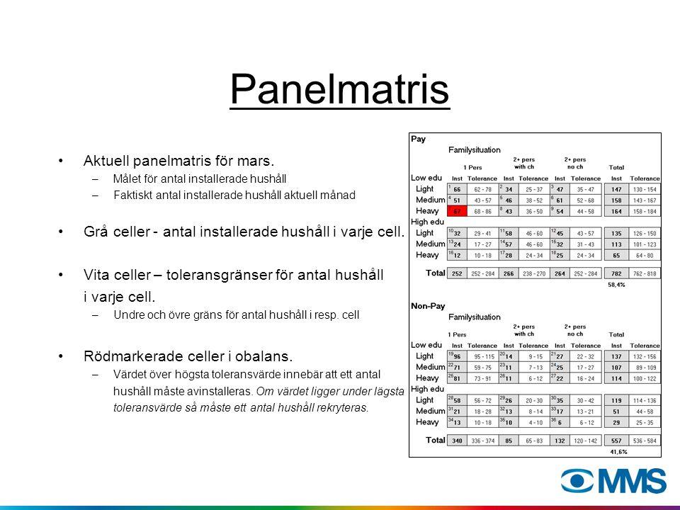 Panelmatris Aktuell panelmatris för mars. –Målet för antal installerade hushåll –Faktiskt antal installerade hushåll aktuell månad Grå celler - antal