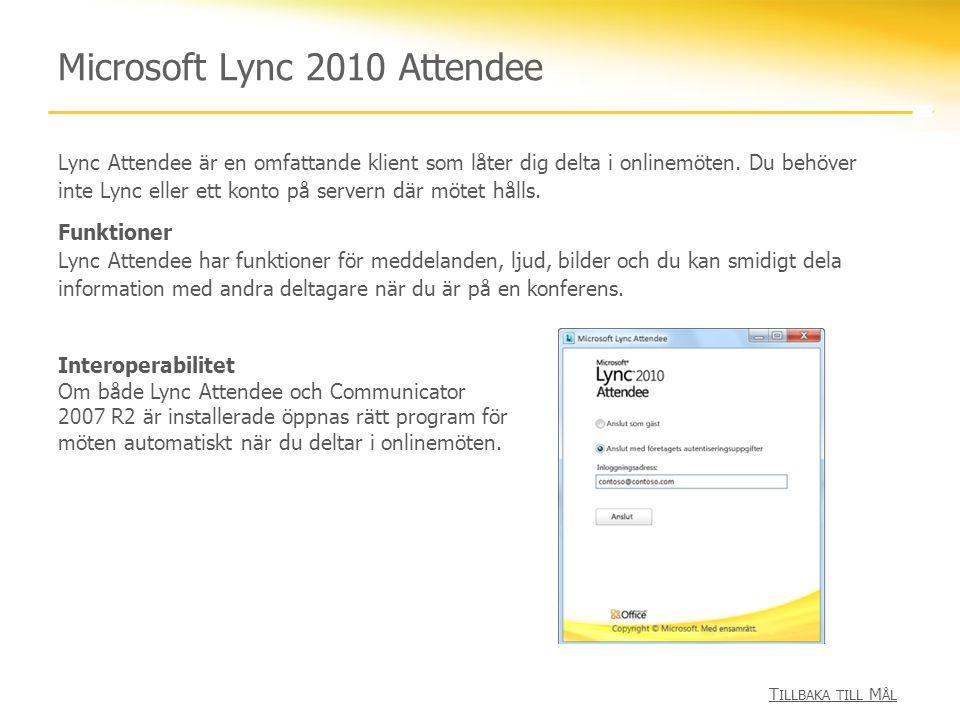 Microsoft Lync 2010 Attendee Lync Attendee är en omfattande klient som låter dig delta i onlinemöten. Du behöver inte Lync eller ett konto på servern