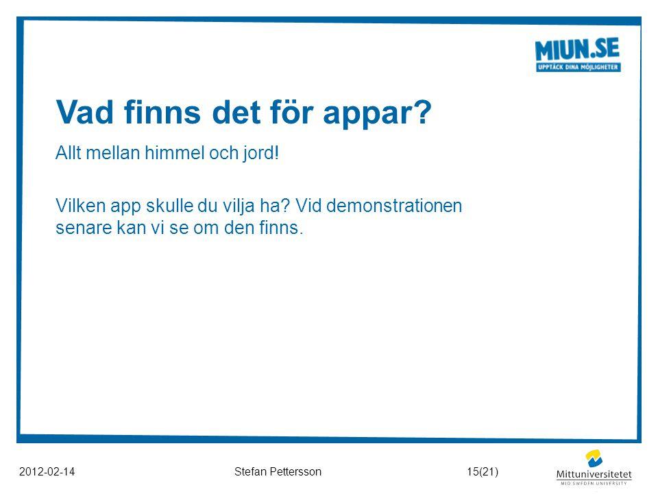 Vad finns det för appar? 2012-02-14Stefan Pettersson Allt mellan himmel och jord! Vilken app skulle du vilja ha? Vid demonstrationen senare kan vi se