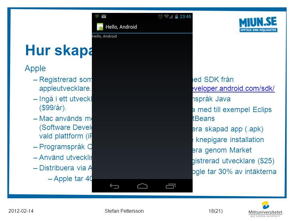 Hur skapas en app? 2012-02-14Stefan Pettersson Apple –Registrerad som appleutvecklare. –Ingå i ett utvecklingsteam ($99/år). –Mac används med iOS SDK