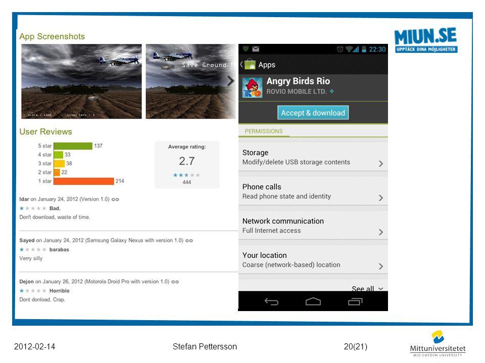Att tänka på vid nedladdning 2012-02-14Stefan Pettersson Kontrollera användaromdömen! Kontrollera appens önskade rättigheter! Använd en säkerhetsapp s