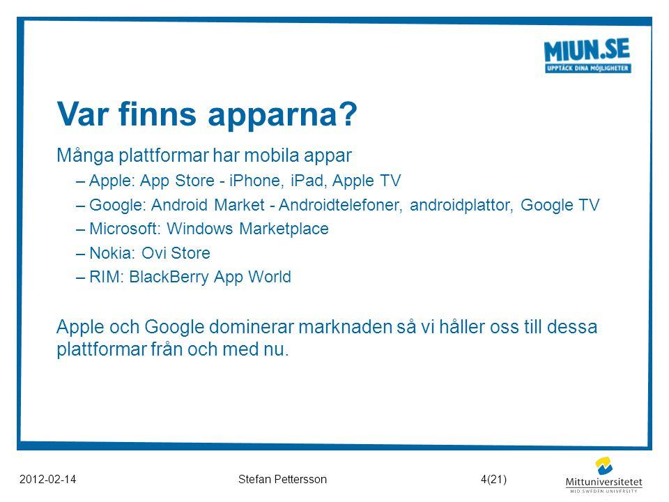 Var finns apparna? 2012-02-14Stefan Pettersson Många plattformar har mobila appar –Apple: App Store - iPhone, iPad, Apple TV –Google: Android Market -
