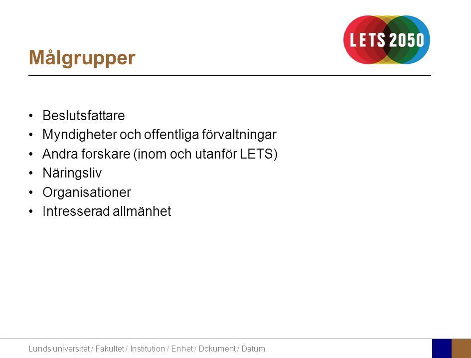 Lunds universitet / Fakultet / Institution / Enhet / Dokument / Datum Målgrupper Beslutsfattare Myndigheter och offentliga förvaltningar Andra forskare (inom och utanför LETS) Näringsliv Organisationer Intresserad allmänhet