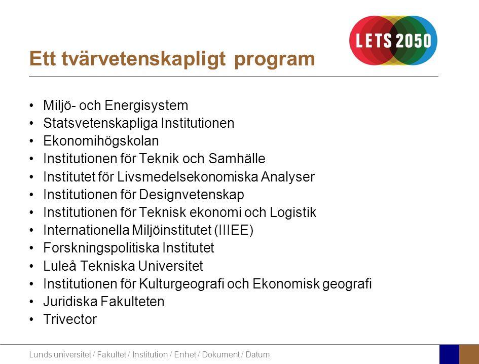 Lunds universitet / Fakultet / Institution / Enhet / Dokument / Datum Finansiärer
