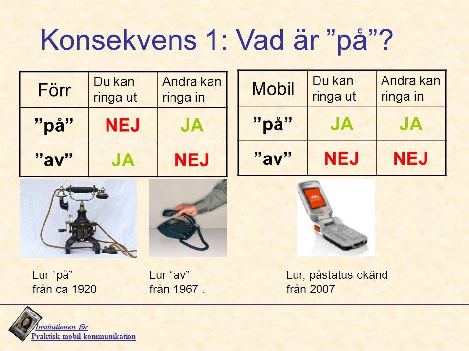 """Institutionen för Institutionen för Praktisk mobil kommunikation Lur """"på"""" från ca 1920 Lur """"av"""" från 1967. Lur, påstatus okänd från 2007 Förr Du kan r"""