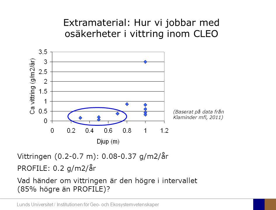 Lunds Universitet / Institutionen för Geo- och Ekosystemvetenskaper Extramaterial: Hur vi jobbar med osäkerheter i vittring inom CLEO (Baserat på data