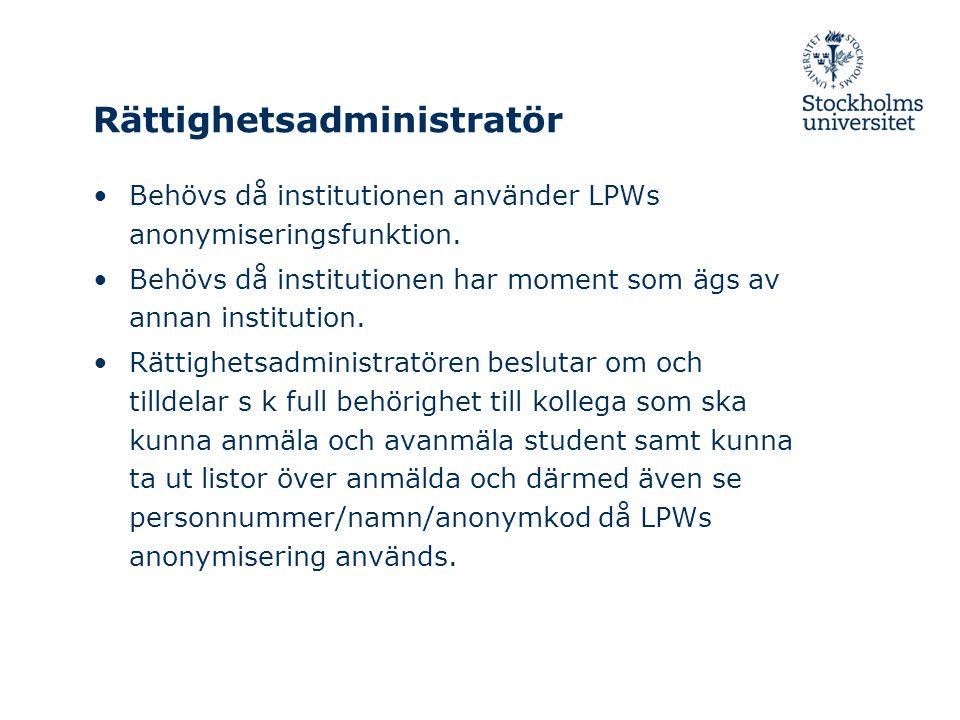 Rättighetsadministratör Behövs då institutionen använder LPWs anonymiseringsfunktion.