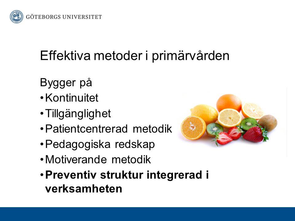 Effektiva metoder i primärvården Bygger på Kontinuitet Tillgänglighet Patientcentrerad metodik Pedagogiska redskap Motiverande metodik Preventiv struktur integrerad i verksamheten