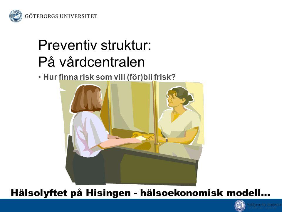 Preventiv struktur: På vårdcentralen Hur finna risk som vill (för)bli frisk.
