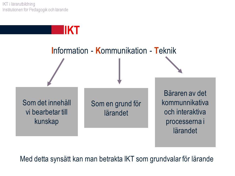 IKT i lärarutbildning Exempel på vad IKT innefattar mer konkret kan vara: hur man kan använda olika medier, digitala bilder, digitalt ljud och digital video, olika programvaror samt Internet som stöd för lärandet och även på andra sätt i pedagogisk verksamhet.