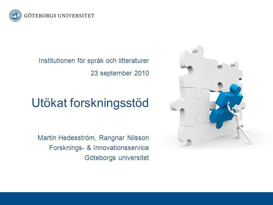 Institutionen för språk och litteraturer 23 september 2010 Utökat forskningsstöd Martin Hedesström, Rangnar Nilsson Forsknings- & Innovationsservice Göteborgs universitet
