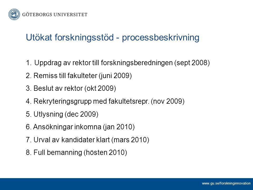 www.gu.se/forskninginnovation Utökat forskningsstöd - processbeskrivning 1.Uppdrag av rektor till forskningsberedningen (sept 2008) 2. Remiss till fak
