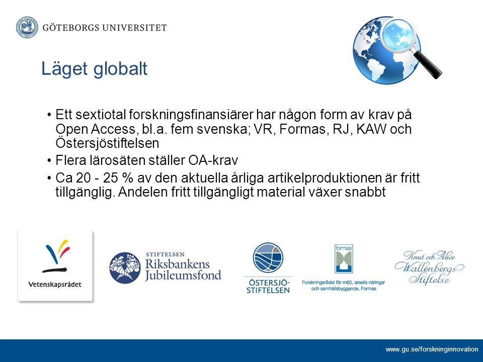 Ett sextiotal forskningsfinansiärer har någon form av krav på Open Access, bl.a. fem svenska; VR, Formas, RJ, KAW och Östersjöstiftelsen Flera lärosät