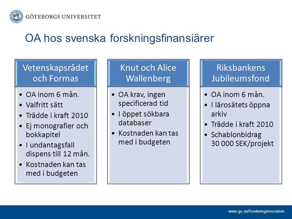 OA hos svenska forskningsfinansiärer Vetenskapsrådet och Formas OA inom 6 mån. Valfritt sätt Trädde i kraft 2010 Ej monografier och bokkapitel I undan