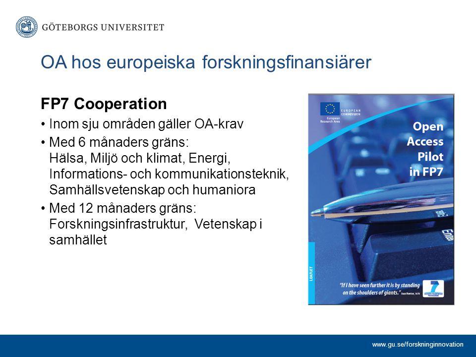 FP7 Cooperation Inom sju områden gäller OA-krav Med 6 månaders gräns: Hälsa, Miljö och klimat, Energi, Informations- och kommunikationsteknik, Samhällsvetenskap och humaniora Med 12 månaders gräns: Forskningsinfrastruktur, Vetenskap i samhället www.gu.se/forskninginnovation