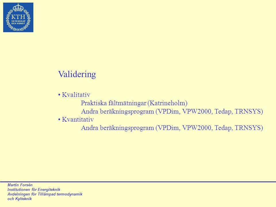 Martin Forsén Institutionen för Energiteknik Avdelningen för Tillämpad termodynamik och Kylteknik Validering Kvalitativ Praktiska fältmätningar (Katri
